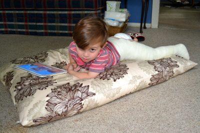 Hunter Doria recovering on a CozyPure pet bed